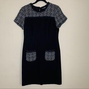 Karl Lagerfeld | Black and White Tweed Shift Dress